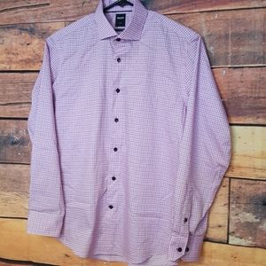 Men's Button Down shirt. Plaid pink size 42(16.5)
